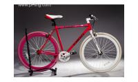 Fixie Fixed Gear Aluminum Alloy W Bladed Spokes sealed Bearing 53cm Pink