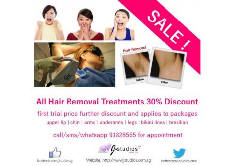 30% DISCOUNT for all IPL Hair Removal Treatments at J Studios in Jurong