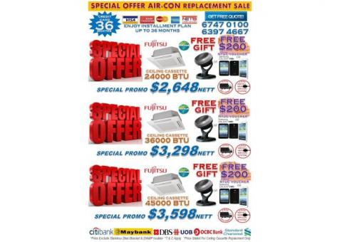 *NEW YEAR SALE 2017* CEILING CASSETTE AIR-CON OFFER + FREE NTUC VOUCHER